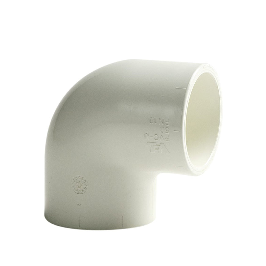 VDL pvc knie 90°, 2x inwendig lijm, 10 bar, wit, 50 mm