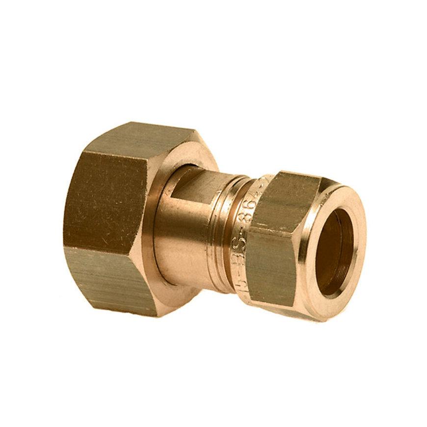 """Bonfix messing 2-delige knelkoppeling, Gastec QA, wartelmoer x knel, ¾"""" x 15 mm"""