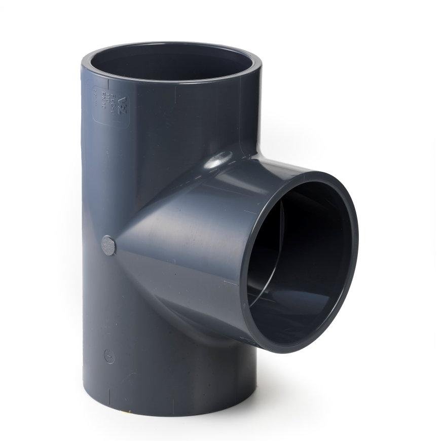 VDL pvc T-stuk 90°, 3x inwendig lijm, 10 bar, 225 mm  default 870x870