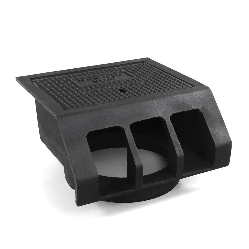 Gietijzeren trottoirkolk, exclusief onderbak, 2-delig, dicht deksel, BS 453 LD /OB 315, 450 x 450 mm  default 870x870