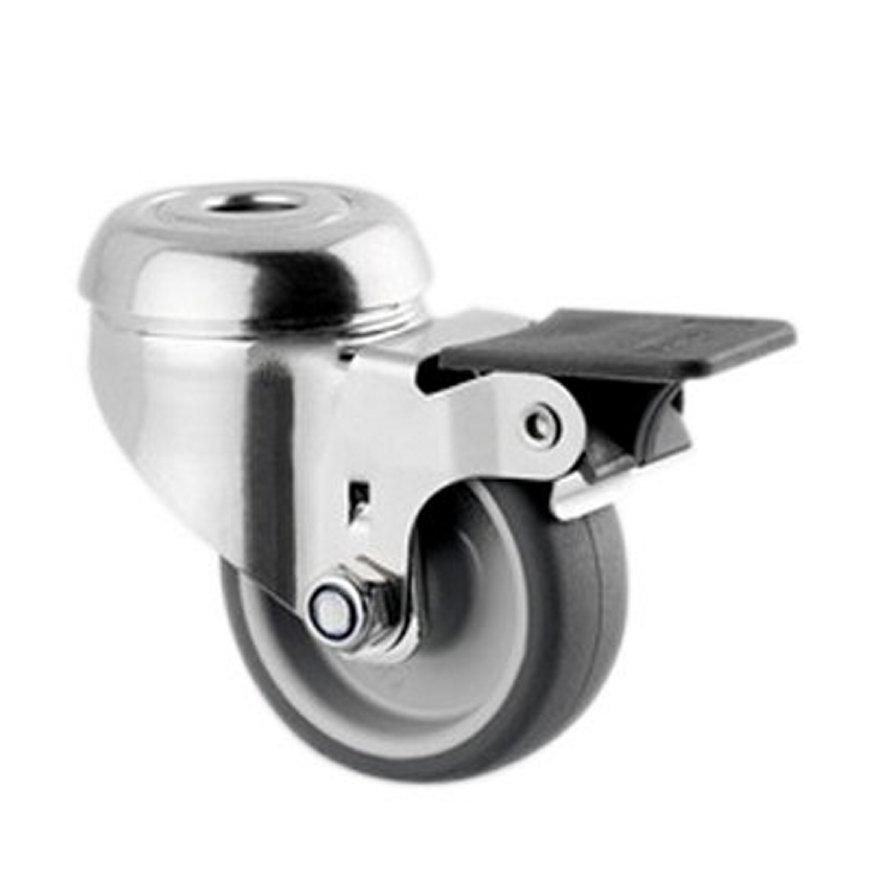 TENTE zwenkwiel, rvs, thermoplastisch rubber, enkele rem, boutgatbev., 50 mm  default 870x870