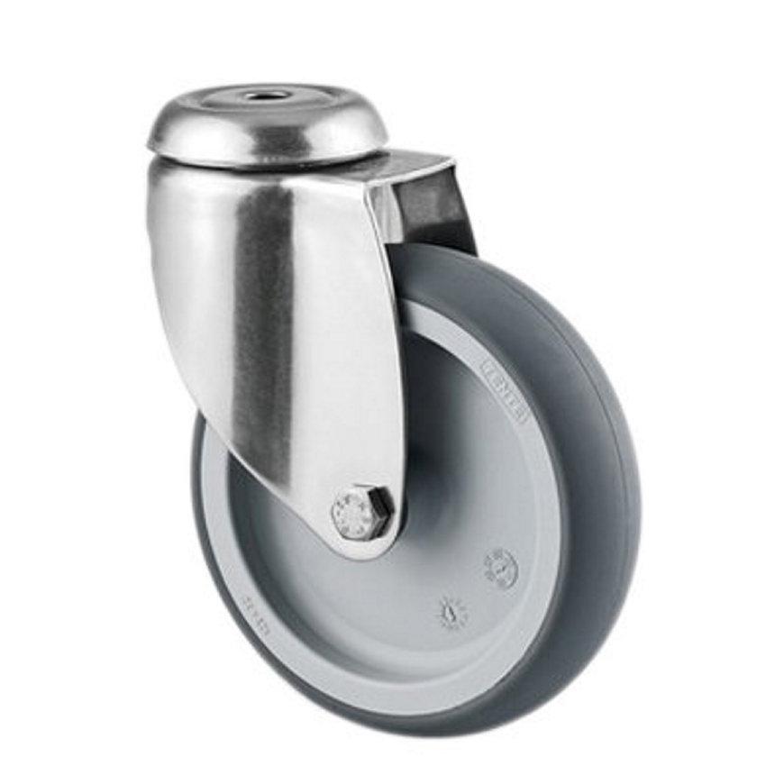 TENTE zwenkwiel, rvs, thermoplastisch rubber, boutgatbevestiging, 75 mm