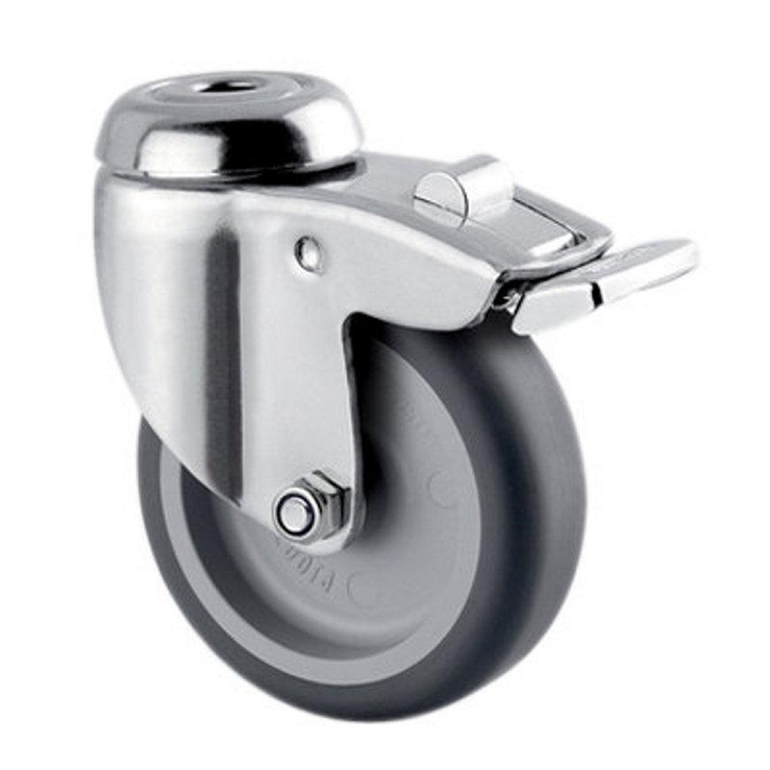 TENTE zwenkwiel, rvs, thermoplastisch rubber, dubbele rem, boutgatbevestiging, 75 mm  default 870x870