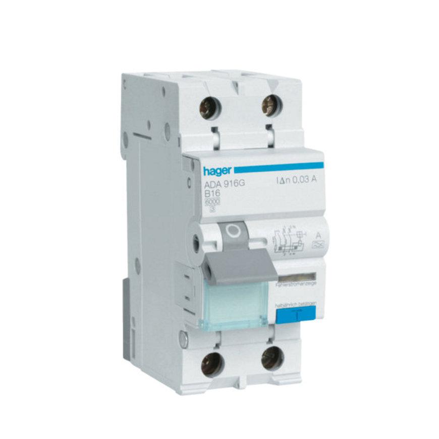 Hager aardlekautomaat 1-polig+N, 16 A - 30 mA, B-karakteristiek, 6 kA, klasse A, 230 V