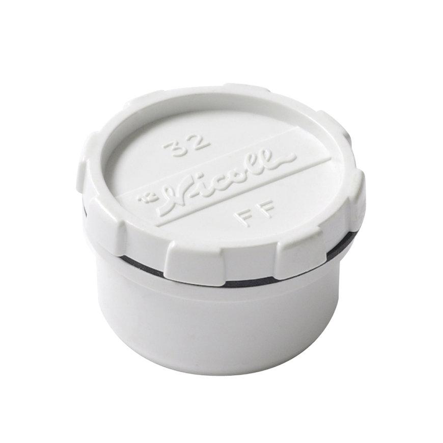 Nicoll pvc eindstuk met schroefdeksel, wit, RAL 9010, 1x uitwendig lijm, KOMO, 32 mm