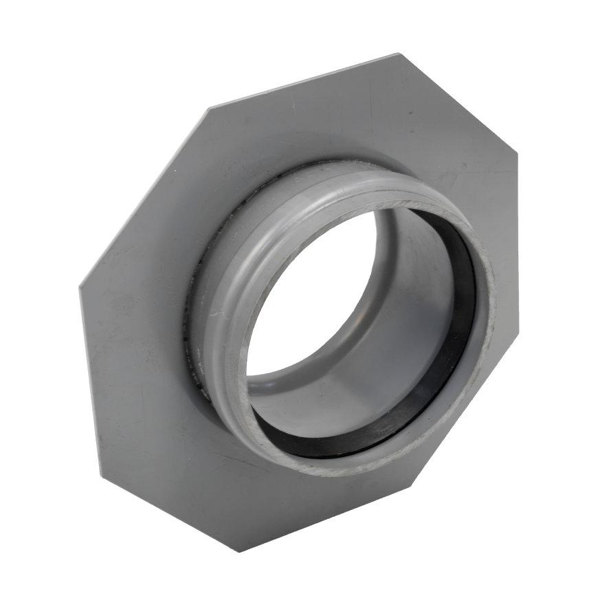 Pvc instortmof met stootrand en flens, 1x manchet, grijs, KOMO, SN4, 110 mm