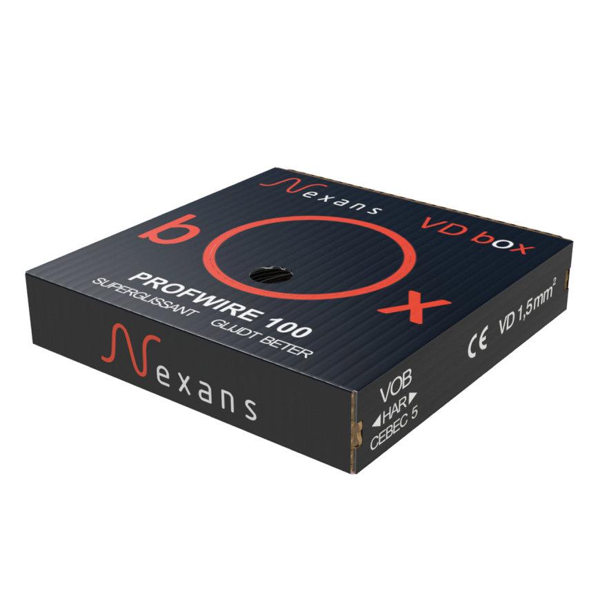 Nexans VD Box, installatiedraad, zwart, H07V-U Eca, 1,5 mm², doos a 100 m