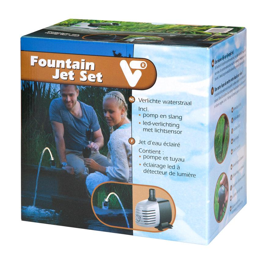 Velda VT Fountain Jet Set, verlichte waterstraal, pomp, led-verlichting en lichtsensor, 1000 l/uur