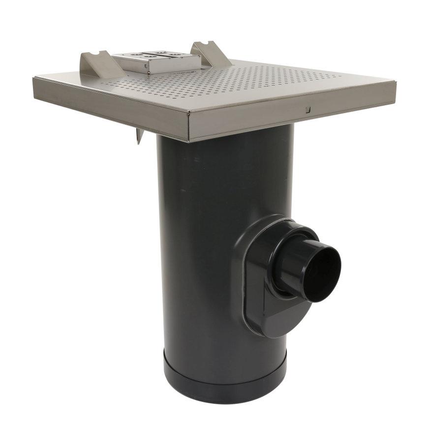 WESP afvoertegel, rvs 304, 600 x 600 mm, incl. 2x caravanaansluiting + onderbak/zandvanger 315 mm