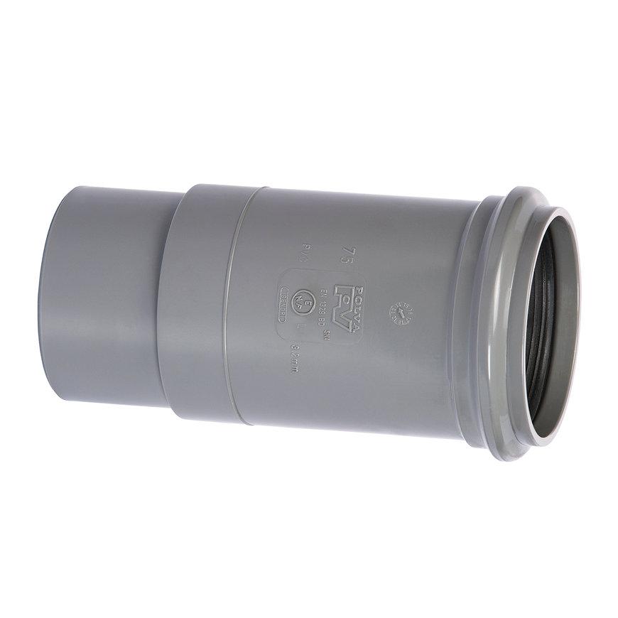 PVC-Langmuffe, Außenverklebungx Muffe, grau, KOMO, 40mm