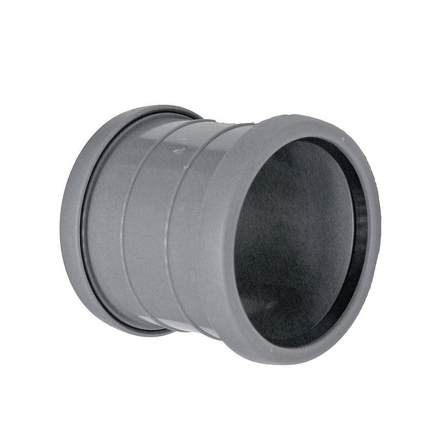 Topfit PP-Überschiebmuffe, 2x Muffe, grau, KOMO, 50 mm