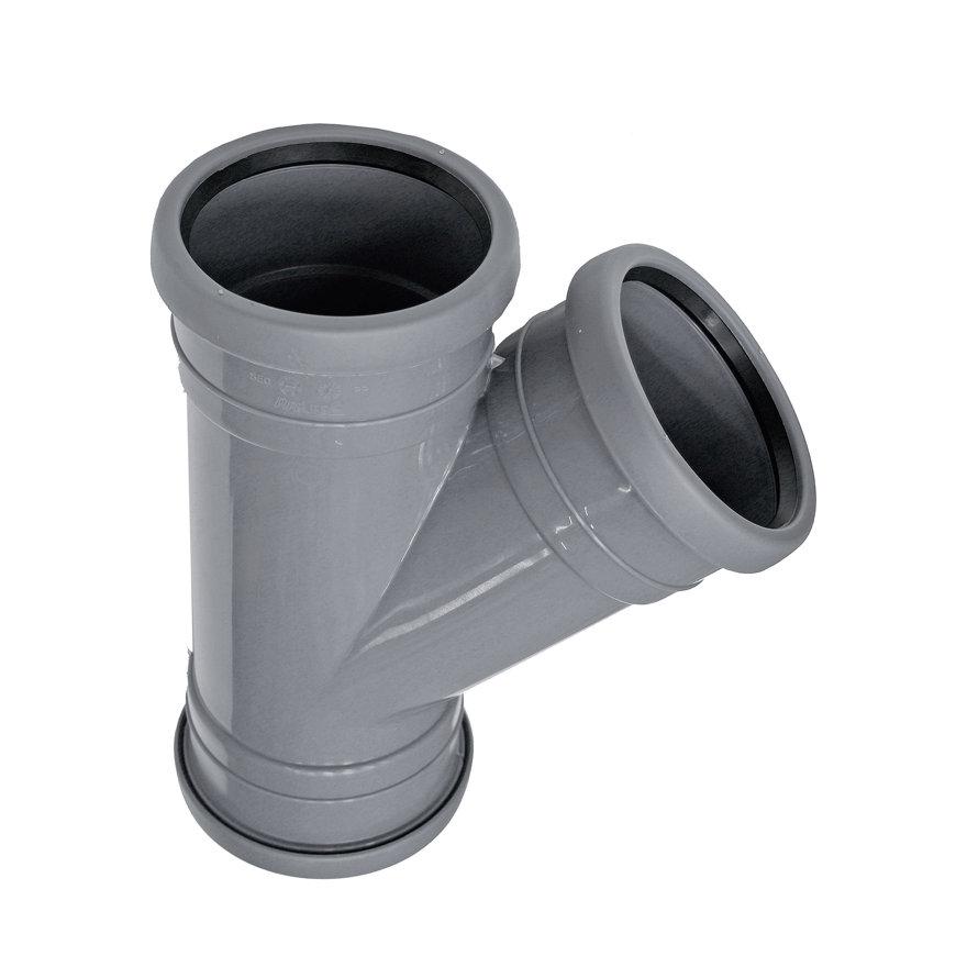 Topfit PP-Abzweig 45°, 3x Muffe, grau, KOMO, 50 mm