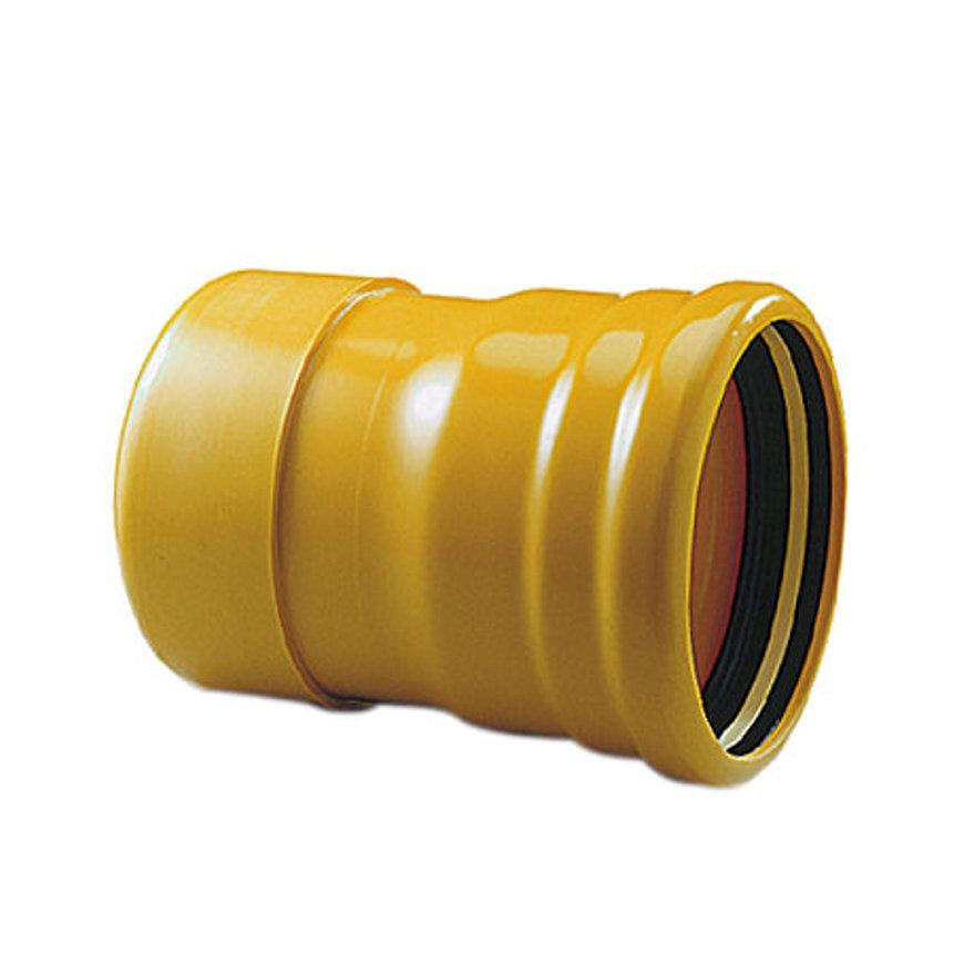 Pipelife slagvaste pvc steekkap, geel, Gastec QA, 1x manchet, 315 mm, samengesteld