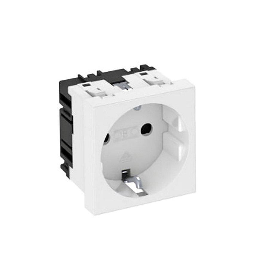 OBO wandcontactdoos, met randaarde, 1-voudig, 0°, bovenaansluiting, 250 V 10/16A, zuiver wit