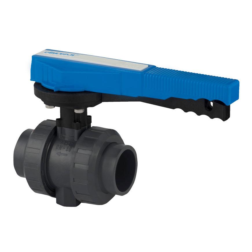 Pimtas PVC-Kugelhahn, 2x Innenverklebung/2x Überwurfmutter, verschließbar, 16bar, EPDM, 63mm