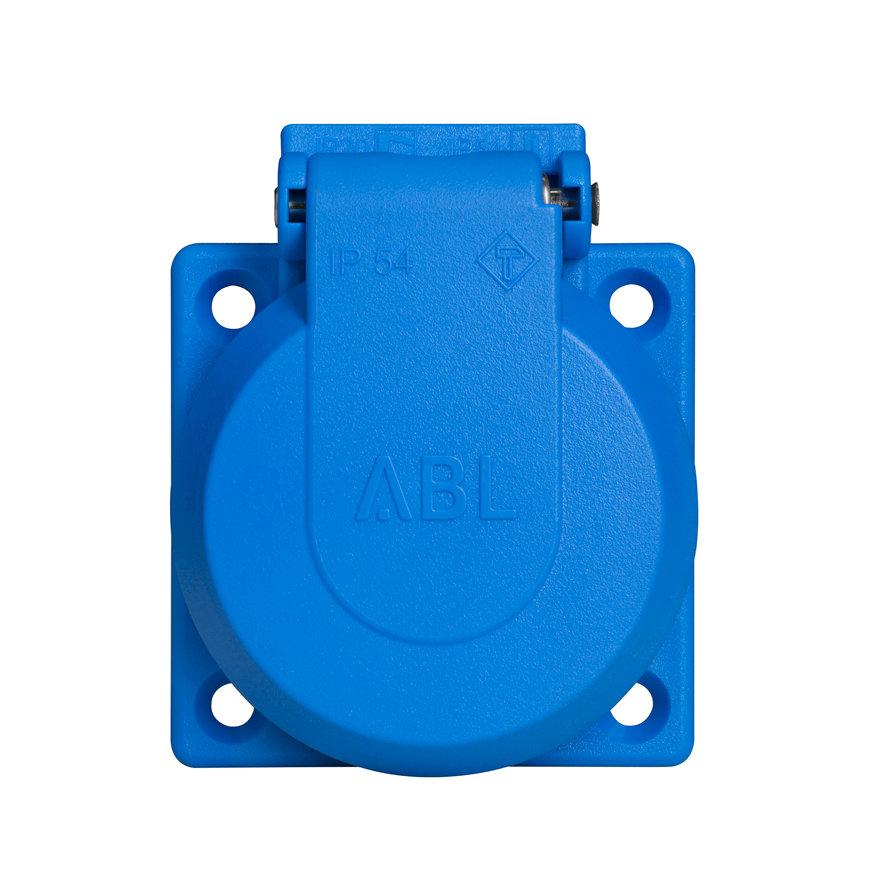 ABL CEE inbouw wandcontactdoos, met klapdeksel, blauw, IP54, 2 P + E, 230 V