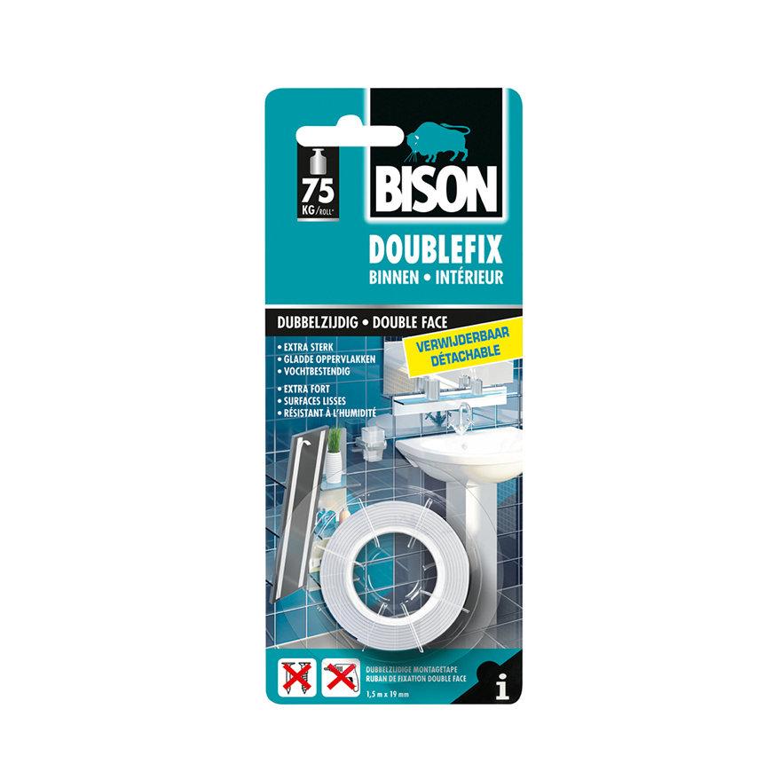 Bison Doublefix Binnen Verwijderbaar, verwijderbare dubbelzijdige montagetape, rol à 1,5 m
