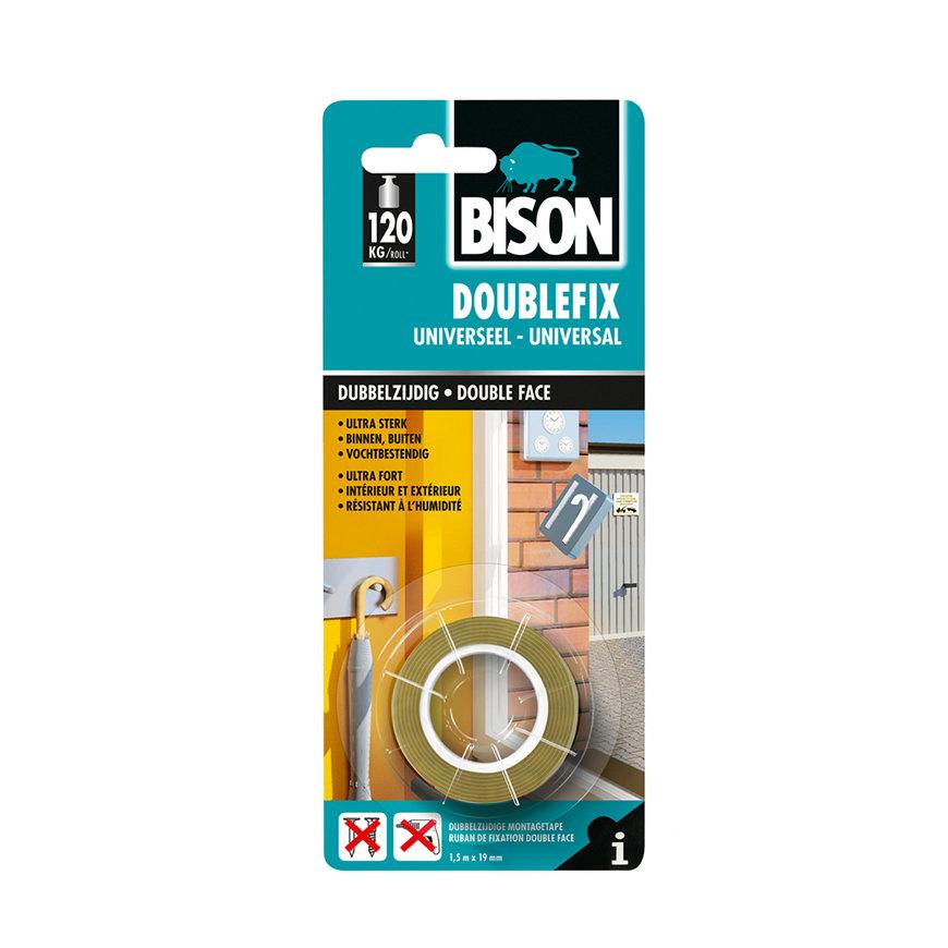 Bison Doublefix Universeel, ultra sterke dubbelzijdige montagetape, rol à 1,5 m, b = 19 mm