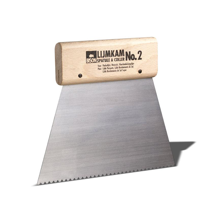 Bison lijmkam met houten handvat, nr. 2, lijmril b = 2 mm, h = 2 mm