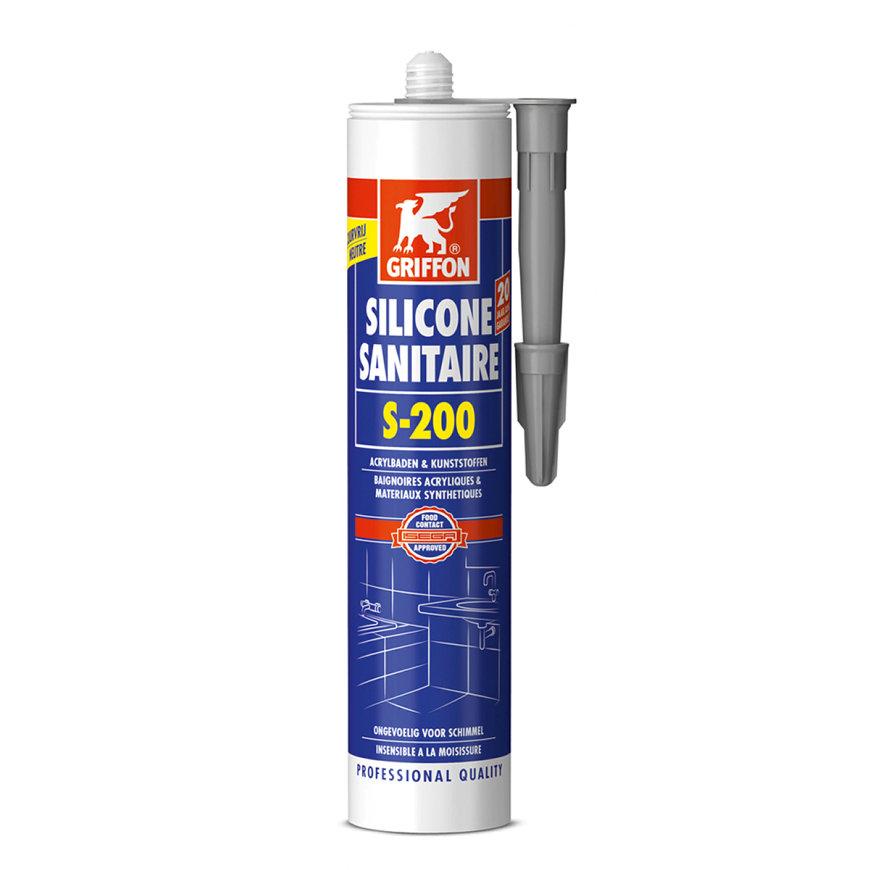 Griffon sanitairkit, siliconen, S-200, koker à 300 ml, zilvergrijs