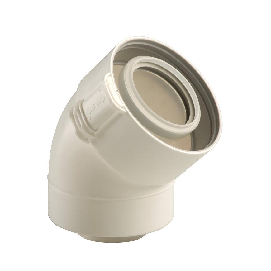 Ubbink Rolux UbiFit, bocht, concentrisch, 45°, Ø 80/125 mm, klemband, wit  default 870x870