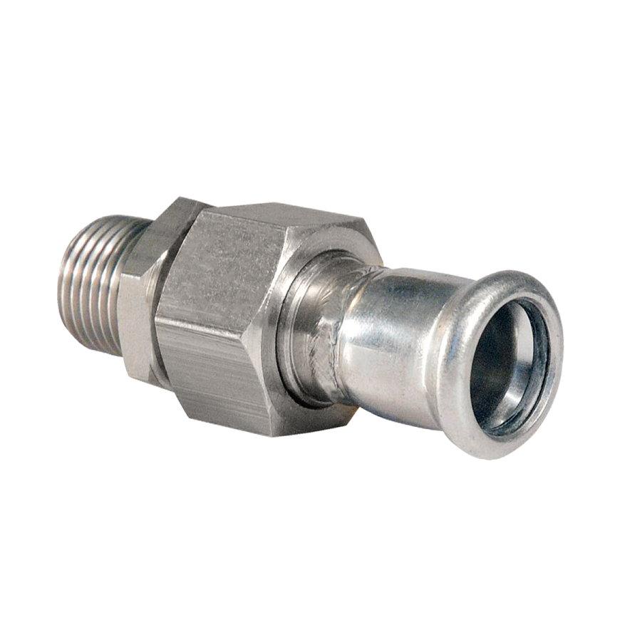 "Bonfix PRESS 3-delige koppeling, rvs, buitendraad x pers, ½"" x 15 mm, Kiwa"