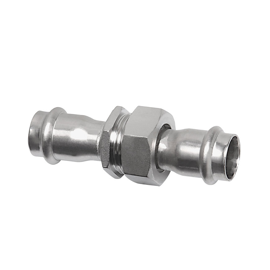 "Bonfix PRESS 3-delige koppeling, rvs, vlak, wartel / 2x pers, ¾"" x 15 mm, Kiwa  default 870x870"