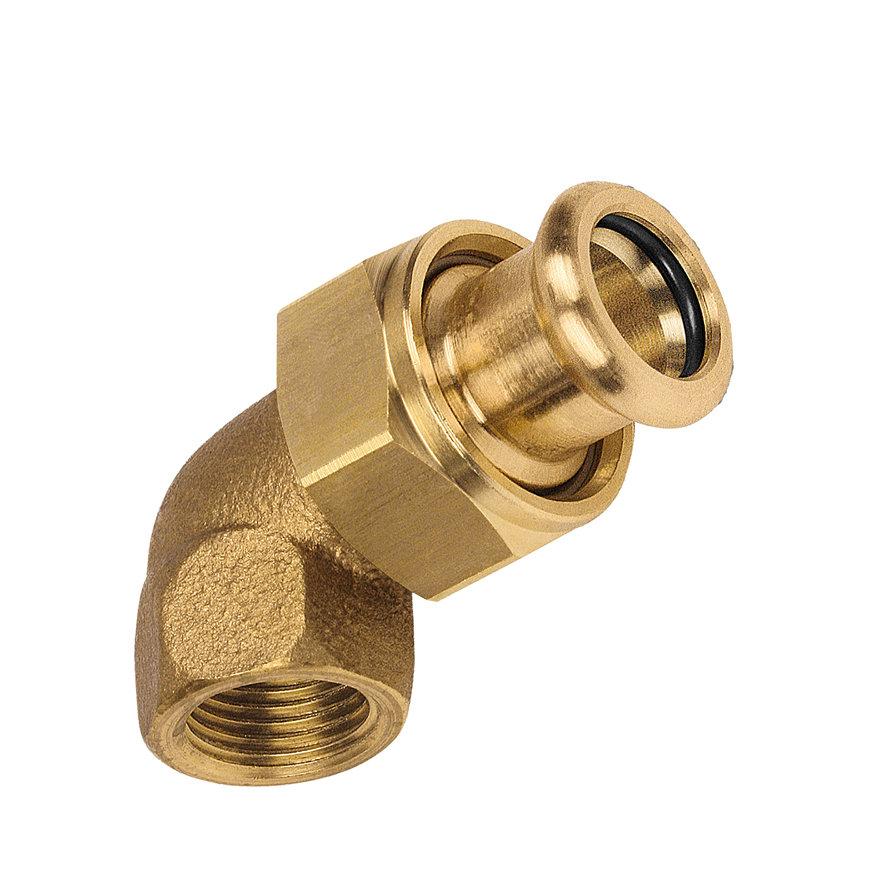 """Bonfix PRESS 3-delige koppeling, haaks, roodkoper, binnendraad x pers, 1½"""" x 42 mm, Kiwa"""