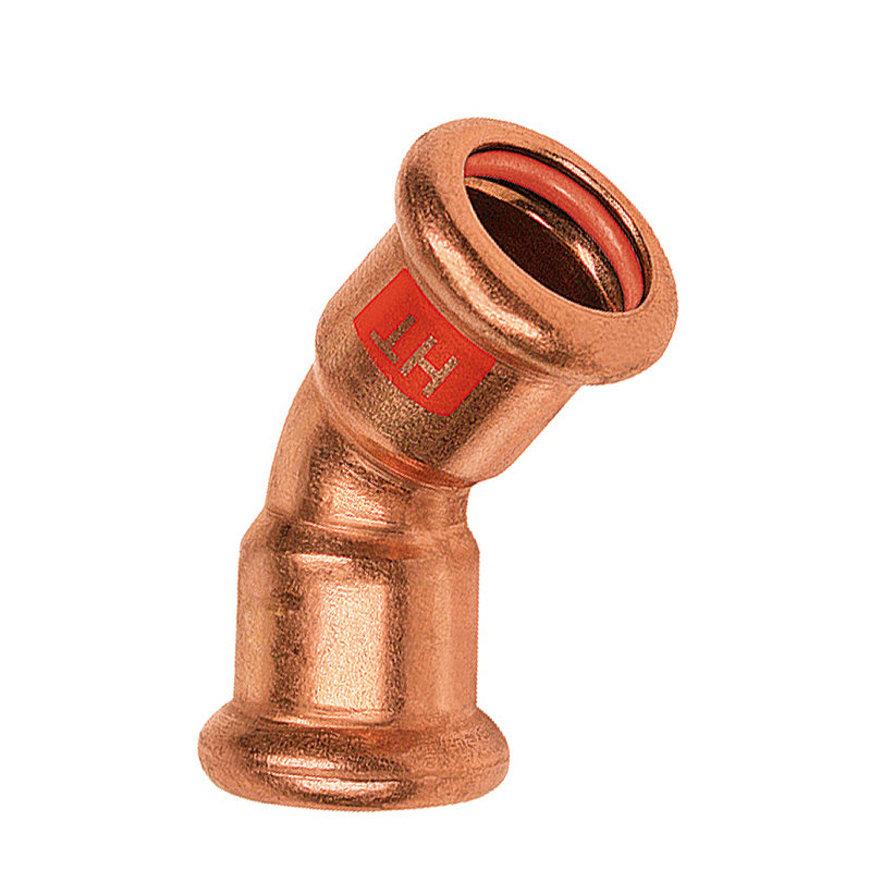 Bonfix PRESS bocht 45°, type Solar, roodkoper, 2x pers, 15 x 15 mm