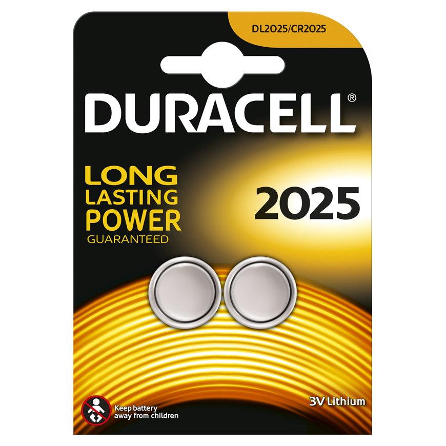 Duracell knoopcel batterij, CR2025, Lithium 3V, kaart à 2 stuks