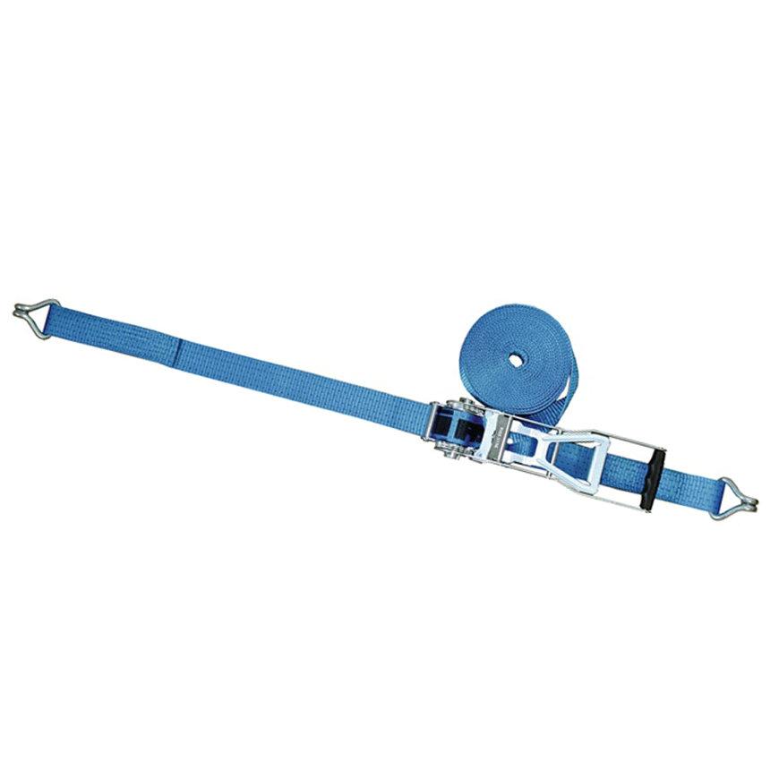Promat spanband met ratelgesp met lange hendel en haak, b = 50 mm, max. trekkracht 5000 kg, l = 8 m