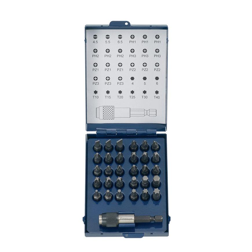 Promat bitassortiment, magnetisch met snelwisselkop, 31-delig, sleuf/PH/PZD/zeskant/torx