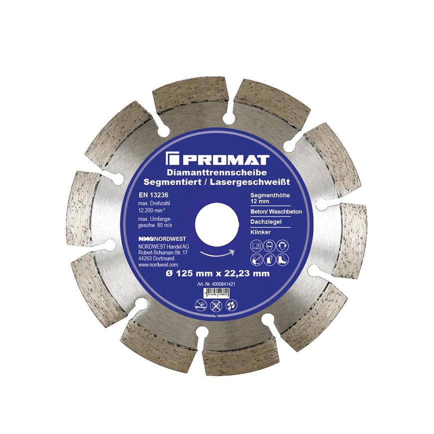 Promat diamantzaagblad, d = 115 mm, boring 22,23 mm, lasergelast 12 mm