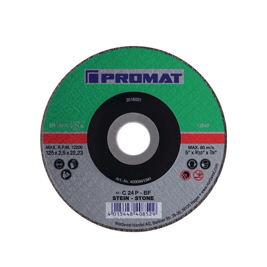 Promat doorslijpschijf, d = 125 mm, dikte = 2,5 mm, gebogen, steen, boorgat 22,23 mm