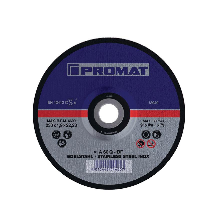 Promat doorslijpschijf, rvs, d = 180 mm, dikte = 1,5 mm, gebogen, rvs, boorgat 22,23 mm