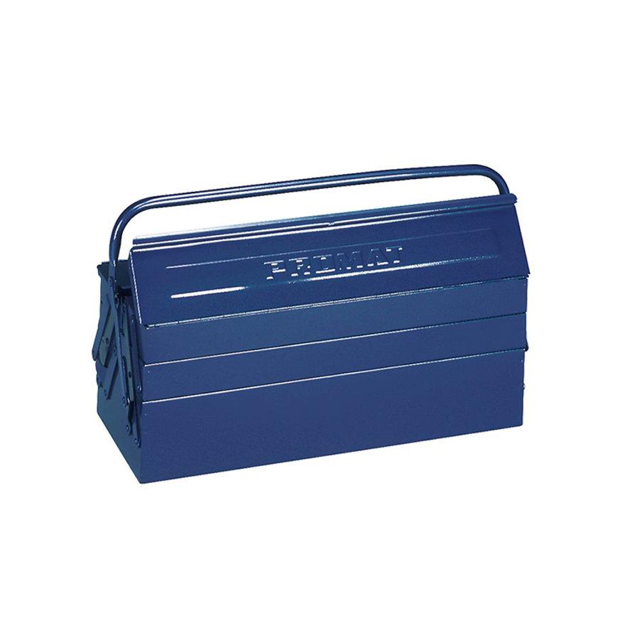 Promat gereedschapskist, l = 430 mm, b = 200 mm, h = 200 mm, 5-dlg, afsluitbaar, plaatstaal, blauw