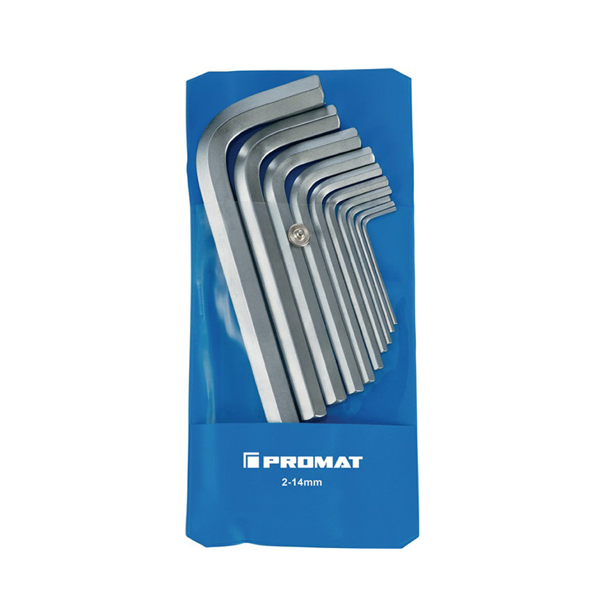 Promat inbussleutelset, 10-delig, haaks, S2-staal, sleutelmaat 2 - 14 mm