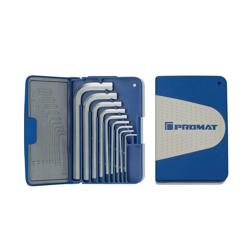 Promat inbussleutelset, 9-delig, haaks, kort, S2-staal, cassette, sleutelmaat 1,5 - 10 mm  default 870x870
