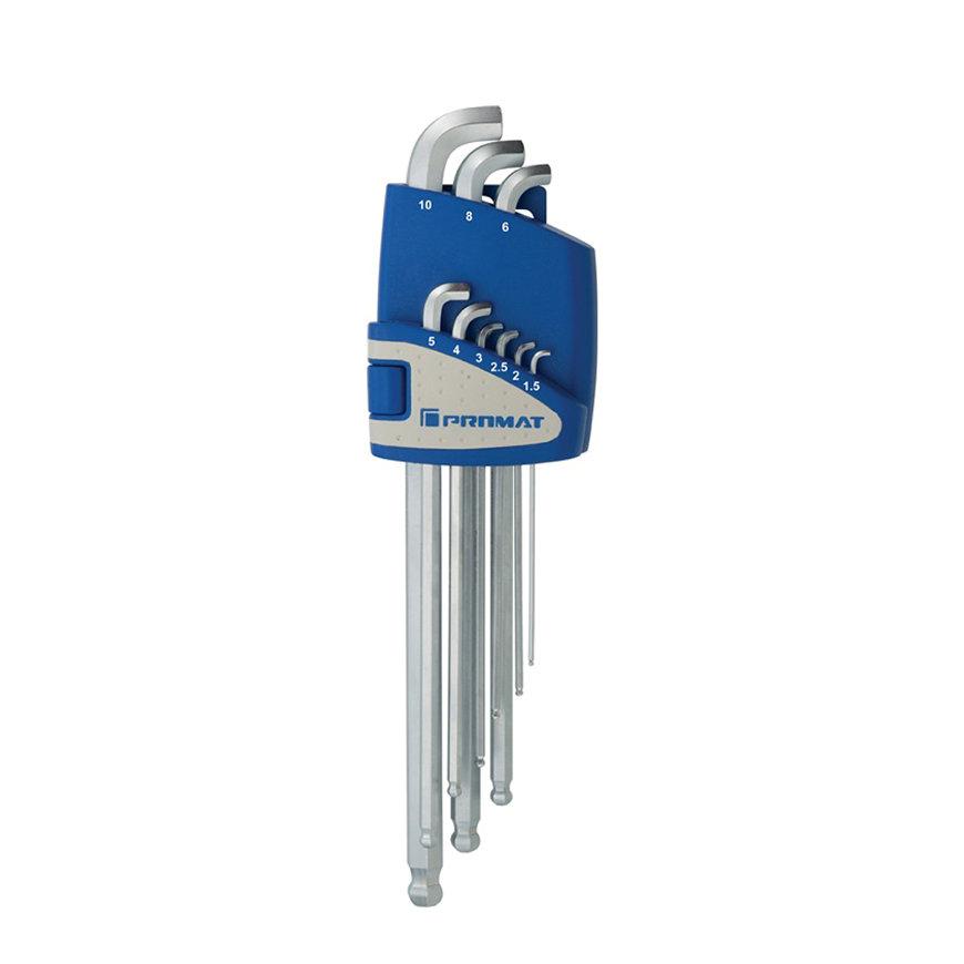 Promat inbussleutelset met kogelkop, lang, 9-delig, S2-staal, sleutelmaat 1,5 - 10 mm