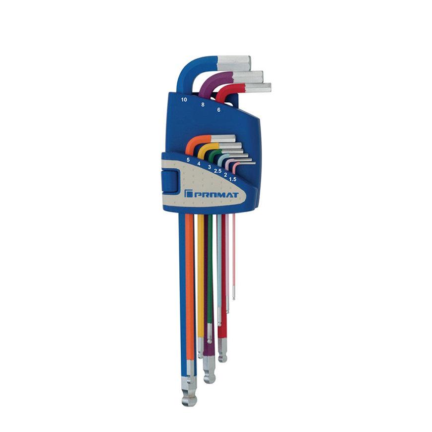 Promat inbussleutelset met kogelkop, lang, 9-delig, S2-staal, op kleur, sleutelmaat 1,5 - 10 mm