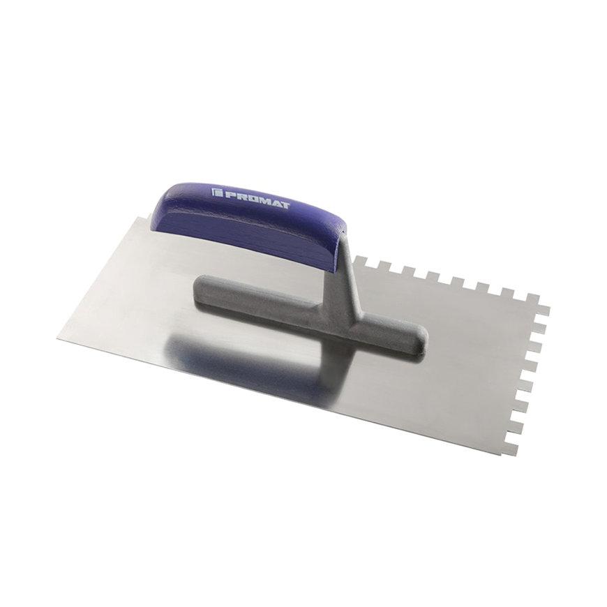 Promat pleisterspaan, rvs, l = 280 mm, b = 130 mm, d = 0,7 mm, vertanding 12 x 12, beukenhouten heft
