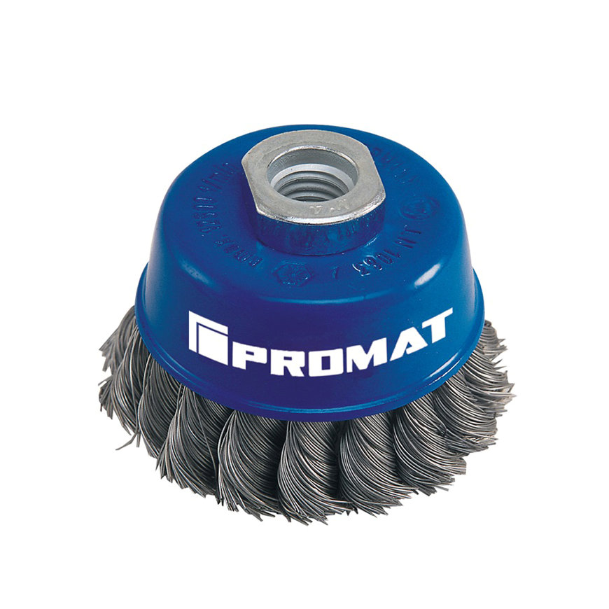 Promat potborstel, rvs, d = 65 mm, M14, draad 0,35 mm, rvs-draad, max. 12500 omw/min