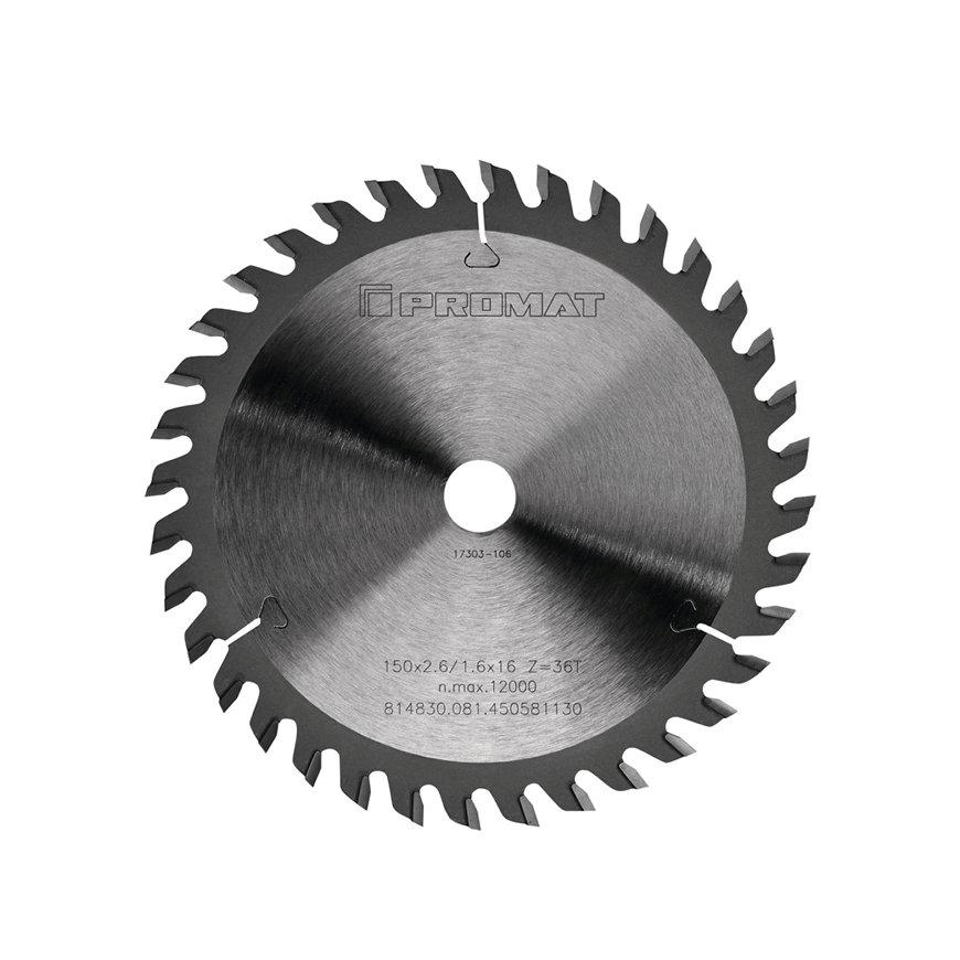 Promat precisie cirkelzaagblad, asgat = 20 mm, tandvorm W, snijbr. 2,6 mm, Ø 160 mm, 36 tanden