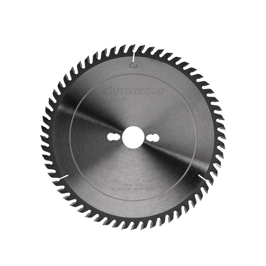 Promat precisie cirkelzaagblad, asgat = 30 mm, tandvorm kW, snijbr. 3,2 mm, Ø 250 mm, 60 tanden