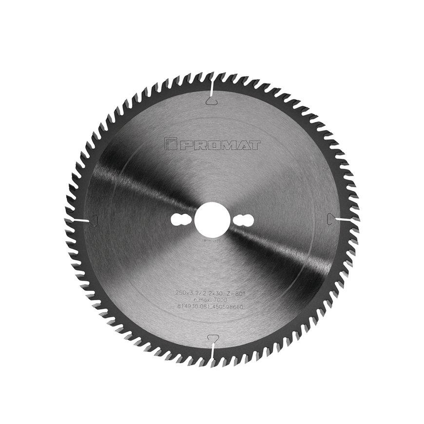 Promat precisie cirkelzaagblad, asgat = 30 mm, tandvorm VW, snijbr. 3,2 mm, Ø 250 mm, 80 tanden