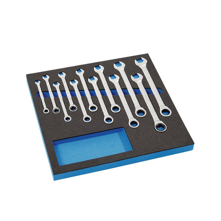 Promat ringratel-steeksleutelset, chroom-vanadiumstaal, 12-delig, sleutelwijdte 8-19 mm