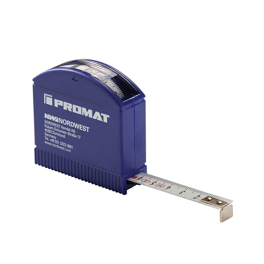 Promat rolbandmaat, bandbreedte 13 mm, verdeling mm/cm, EG II, kunststof controlevenster, l = 3 m