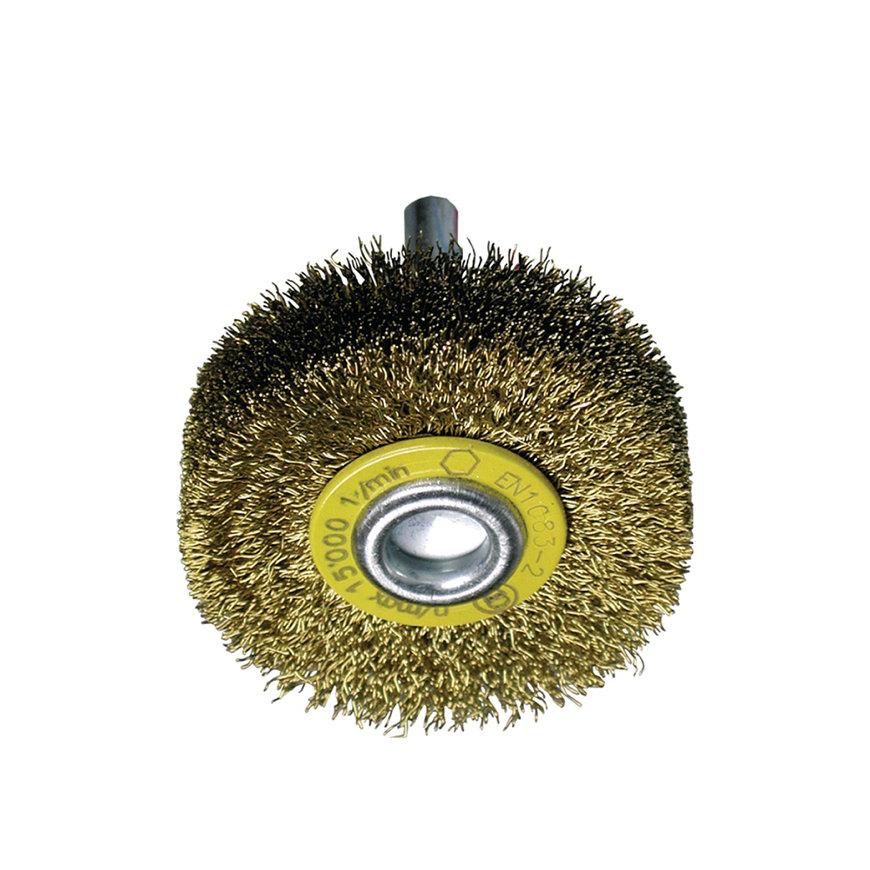 Promat rondborstel, staal, d = 70 mm, opname 6 mm, draad 0,2 mm, messingdraad, max. 15000 omw/min