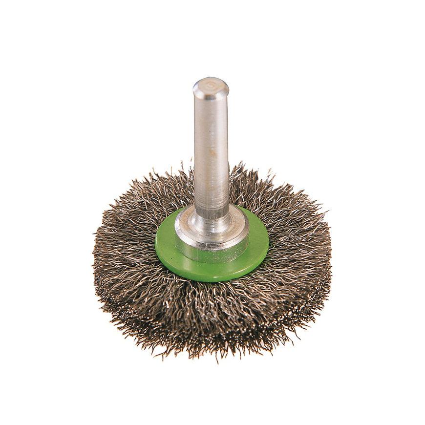 Promat rondborstel, staal, d = 60 mm, opname 6 mm, draad 0,2 mm, rvs-draad, max. 15000 omw/min