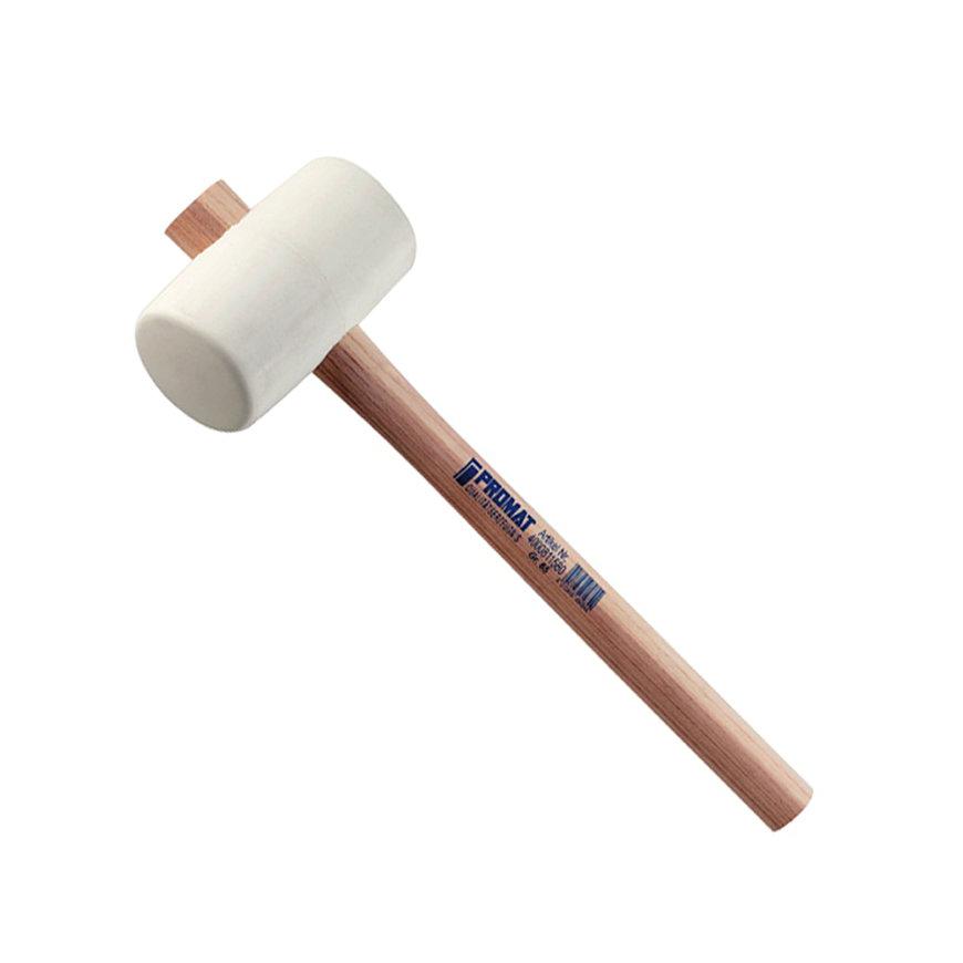 Promat hamer, rubber, steel van essenhout, 70 shore hardheid, hamerkop 64 mm, koplengte 113 mm